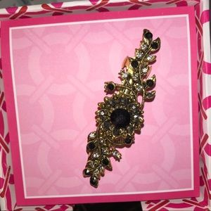 Gold Hairpin with Black and Silver Rhinestones